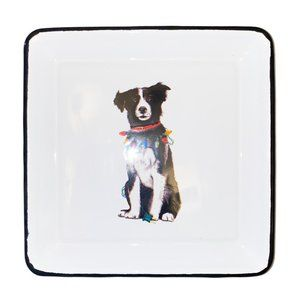 NWT Enameled Plate Christmas Dog by Creative Co-Op